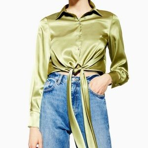 Topshop Satin Tie Front Shirt new with tags green